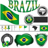 Glossy icons with flag of Brazil Stock Images