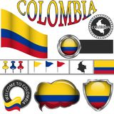 Glossy icons with flag of Colombia Royalty Free Stock Photo