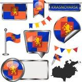 Glossy icons with flag of Krasnoyarsk. Vector glossy icons of flag of Krasnoyarsk, Russia on white royalty free illustration