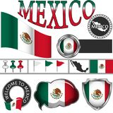 Glossy icons with flag of Mexico Royalty Free Stock Images