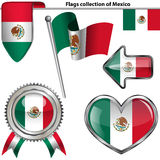 Glossy icons with flag of Mexico Royalty Free Stock Image