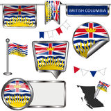 Glossy icons with flag of province British Columbia. Vector glossy icons of flag of province British Columbia on white Royalty Free Stock Photo