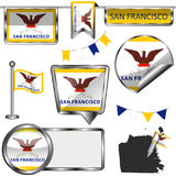 Glossy icons with flag of San Francisco. Vector glossy icons of flag of San Francisco on white Stock Photo