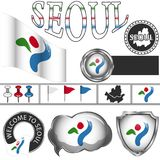 Glossy icons with flag of Seoul Stock Photo
