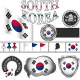 Glossy icons with flag of South Korea Stock Photography