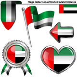 Glossy icons with flag of United Arab Emirates Stock Images