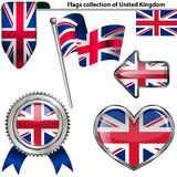 Glossy icons with flag of United Kingdom Royalty Free Stock Image