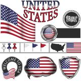 Glossy icons with flag of United states Royalty Free Stock Photos