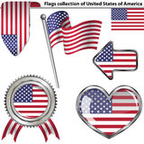 Glossy icons with flags of USA Stock Photos