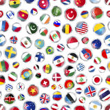 Glossy icons of flags of world sovereign states on white, seamless pattern Royalty Free Stock Images