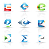 Glossy Icons for letter E Stock Photos