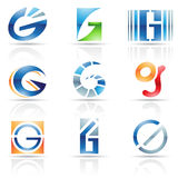 Glossy Icons for letter G Royalty Free Stock Photography