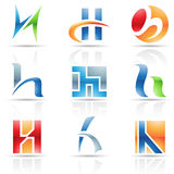 Glossy Icons for letter H Stock Image
