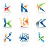 Glossy Icons for letter K Royalty Free Stock Photo