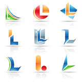 Glossy Icons for letter L Royalty Free Stock Image