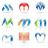 Glossy Icons for letter M Stock Photography