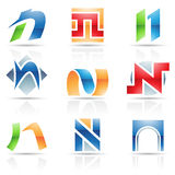 Glossy Icons for letter N Stock Photography