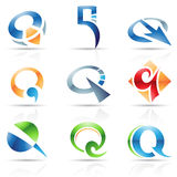Glossy Icons for letter Q Stock Photography