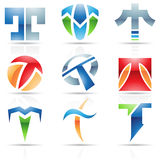 Glossy Icons for letter T Royalty Free Stock Photos