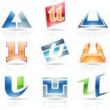 Glossy Icons for letter U Royalty Free Stock Photo