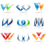 Glossy Icons for letter W Royalty Free Stock Image