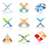 Glossy Icons for letter X Stock Image