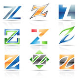 Glossy Icons for letter Z Stock Photo