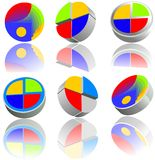 Glossy icons set. Six glossy buttons for website or logo design. Available as jpg and vector file Stock Photos