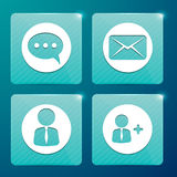 Glossy icons for social networks and mailboxes Royalty Free Stock Images