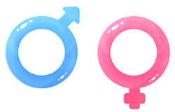 Glossy illustrations of gender symbols Royalty Free Stock Photos