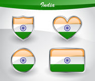 Glossy India flag icon set Stock Images
