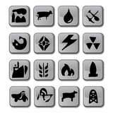 Glossy Industry Icons. A set of sixteen glossy icons that represent the different major industries including; coal, gas, oil, electricity, power, mining, cattle vector illustration
