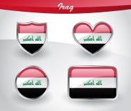 Glossy Iraq flag icon set Stock Photo