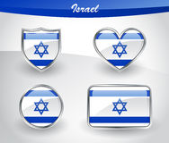 Glossy Israel flag icon set Royalty Free Stock Photos