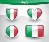 Glossy Italy flag icon set Stock Images