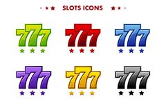 Glossy 777 jackpot symbol, colored app icon. Objects for asset game and GameTwist. Glossy 777 jackpot symbol, colored app icon. Vector objects for asset game and stock illustration