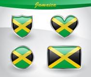 Glossy Jamaica flag icon set Stock Photos