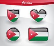 Glossy Jordan flag icon set Royalty Free Stock Photo