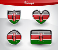 Glossy Kenya flag icon set Royalty Free Stock Photo