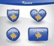 Glossy Kosovo flag icon set Royalty Free Stock Images