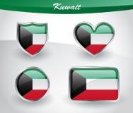 Glossy Kuwait flag icon set Royalty Free Stock Photo