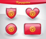 Glossy Kyrgyzstan flag icon set Royalty Free Stock Photos