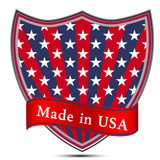 Glossy label Made in USA. American  English  Pennant   Banner  Flag  Americans  Blue  Appearance  Design  Composition Royalty Free Stock Photo