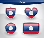Glossy Laos flag icon set Stock Photography