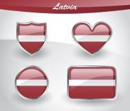 Glossy Latvia flag icon set Royalty Free Stock Image
