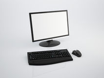 Glossy LCD with keyboard and mouse Stock Image