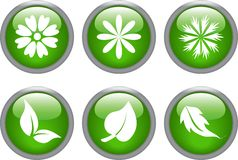 Glossy leaf and flower icons Stock Photos