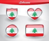 Glossy Lebanon flag icon set Stock Image