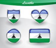 Glossy Lesotho flag icon set Stock Photo