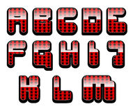 Glossy letters set 1. First half of the set of shiny red alphabet with stars Stock Photos